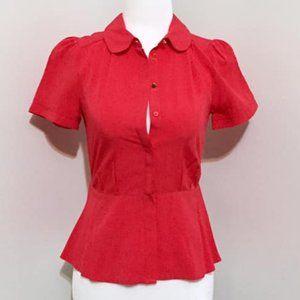 H&M Red Peplum Shortsleeve Blouse